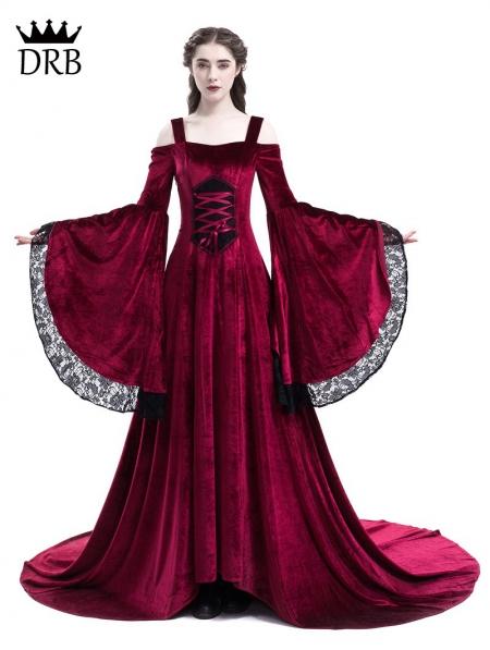 Red Off The Shoulder Renaissance Fairy Tale Medieval Dress