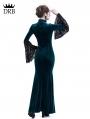 Blue Velvet Dark Queen Morticia Addams Gothic Victorian Dress