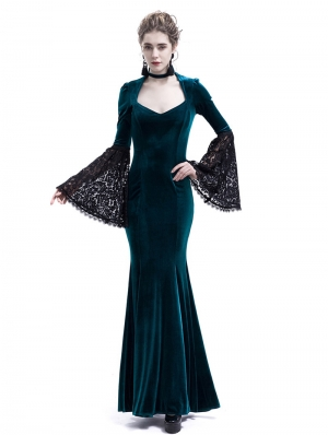 Blue Velvet Dark Queen Morticia Addams Gothic Victorian Dress