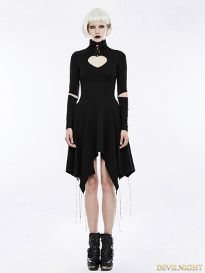 Black Gothic Heart Shape Asymmetry Dress