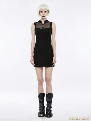 Black Gothic Punk Mesh Short Dress
