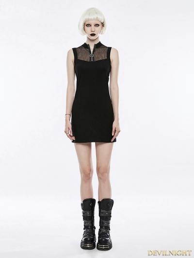 Black Gothic Punk Mesh Short Dress