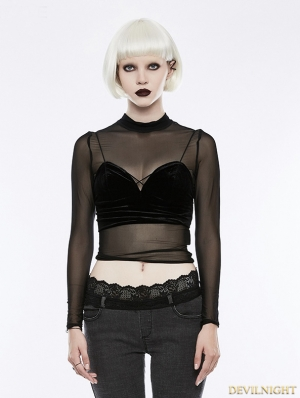 Black Gothic Sexy Perspective T-Shirt for Women
