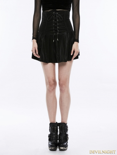 Black Gothic Punk Pleated High Waist Short Skirt