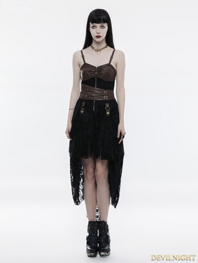 Black and Coffee Lace High-Low Steampunk Dress