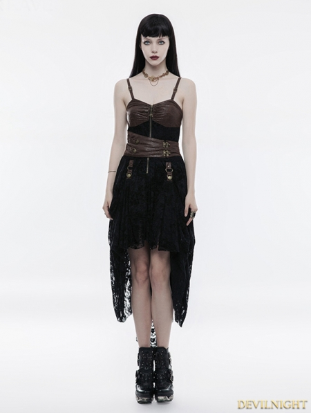 Black And Coffee Lace High Low Steampunk Dress