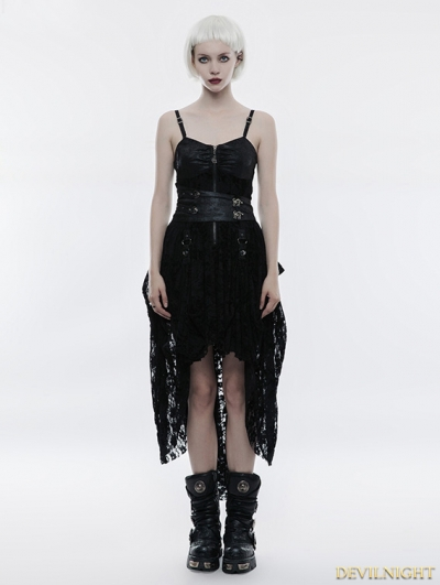 Black Lace High-Low Steampunk Dress