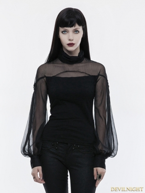 Black Gothic Lantern Sleeve T-Shirt for Women