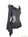 Black Vintage Pattern Romantic Gothic Flower Shirt for Women
