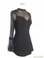 Black Romantic Gothic One Sleeve Shirt for Women