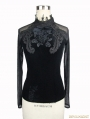 Black Gothic Vintage Velvet Rose Shirt for Women