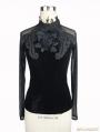 Black Gothic Vintage Velvet Rose Shirt for Women