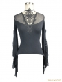 Black Vintage Gothic Sexy Lace Long Trumpet Sleeves Shirt for Women
