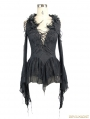 Black Gothic Sexy Deep V-Neck Lace Flower Shirt for Women