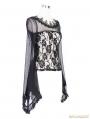 Black Romantic Gothic Rose Long Trumpet Sleeves Shirt for Women