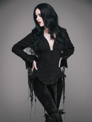 Black Gothic Sexy Deep V-Neck Lace Blouse for Women