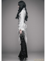 White Gothic Sexy Deep V-Neck Lace Blouse for Women