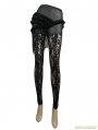 Black Gothic Rose Pattern Lace Legging for Women