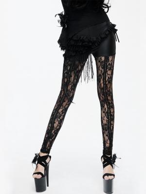 Black Gothic Rose Pattern Lace Legging for Women