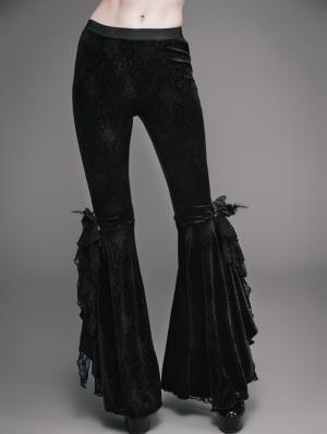 Black Vintage Gothic Velvet Flared Trousers for Women