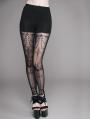 Black Vintage Pattern Gothic Leggings for Women