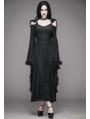 Black Off-the-Shoulder Gothic Vampire Hooded Tassel Dress