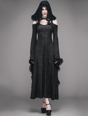 Black Off-the-Shoulder Gothic Vampire Hooded Tassel Dress