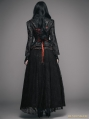 Black and Red Romantic Gothic Lace Underbust Corset Ball Dress