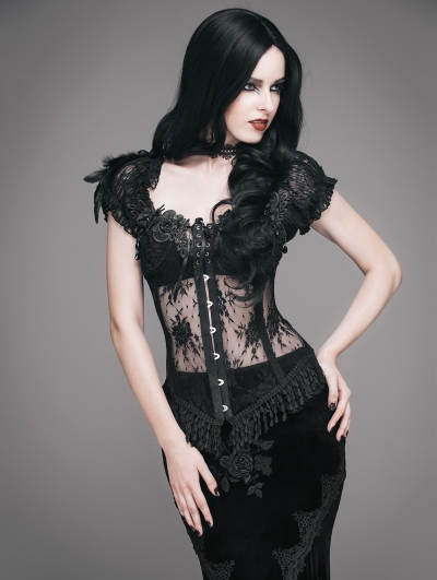 Black Sexy Gothic Lace Corset Top