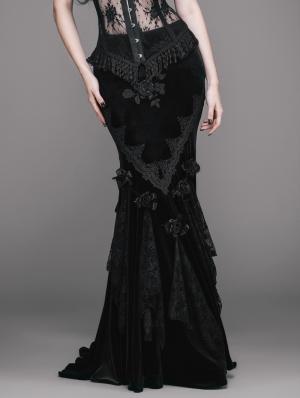 Romantic Gothic Flower Fishtail Skirt