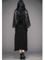 Romantic Black Gothic Dress with Detachable Lace Shawl