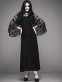 Romantic Black Gothic Dress with Detachable Lace Shawl