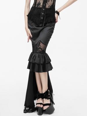 Black Gothic High-Low Fishtail Skirt