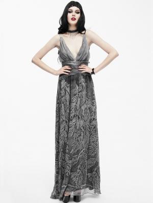 Sexy Deep V-Neck Gothic Goddess Evening Dress