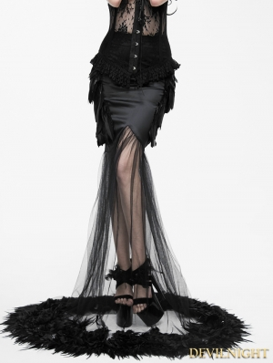 Fashion Black Gothic Feather Fishtail Skirt