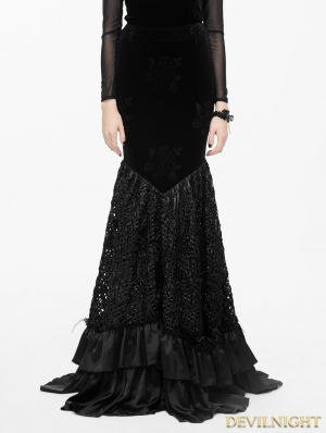 Black Floral Pattern Velvet Gothic Fishtail Skirt