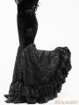 Black Floral Pattern Velvet Gothic Fishtail Skirt