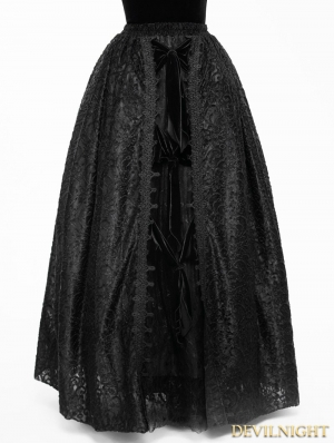 Black Gothic Lace Long Ball Skirt