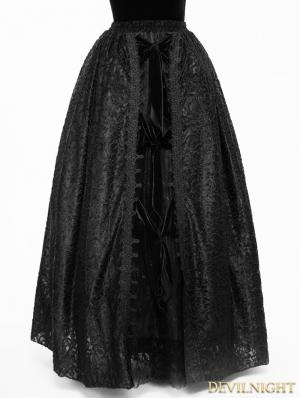 Black Gothic Lace Long Ball Skirt