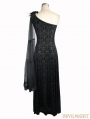 Black Gothic Goddess One-Shoulder Dress