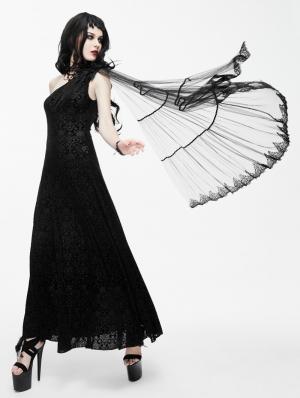Black Gothic Goddess One-Shoulder Dress