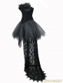 Black Gothic Feather Lace Short Dress