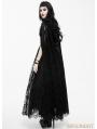 Black Romantic Long Gothic Dress with Lace Cape