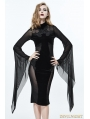 Black Gothic Long Trumpet Sleeves Sexy Velvet Dress