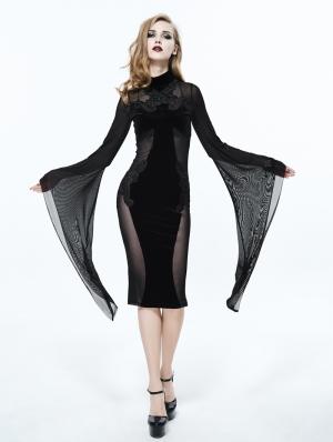 Black Gothic Long Trumpet Sleeves Sexy Velvet Dress