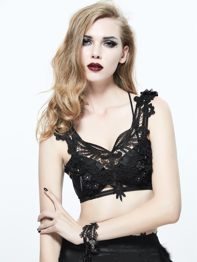 Black Gothic Feather Harness Bra