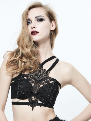 Black Gothic Lace Harness Bra with Deer Ornaments