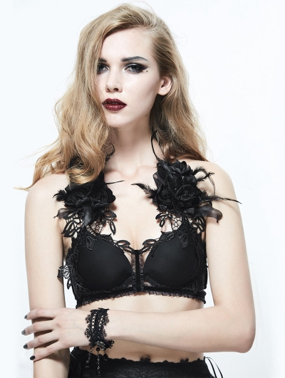 Black Gothic Flower Feather Harness Bra