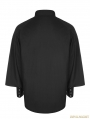 Black Gothic Steampunk Long Sleeve Shirt for Men