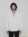 White Gothic Steampunk Long Sleeve Shirt for Men